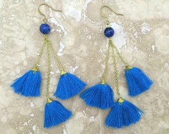 Catalina Tassel Cluster Earrings, Blue Tassel Chandelier Earrings, Cobalt Tassel Cluster Earrings