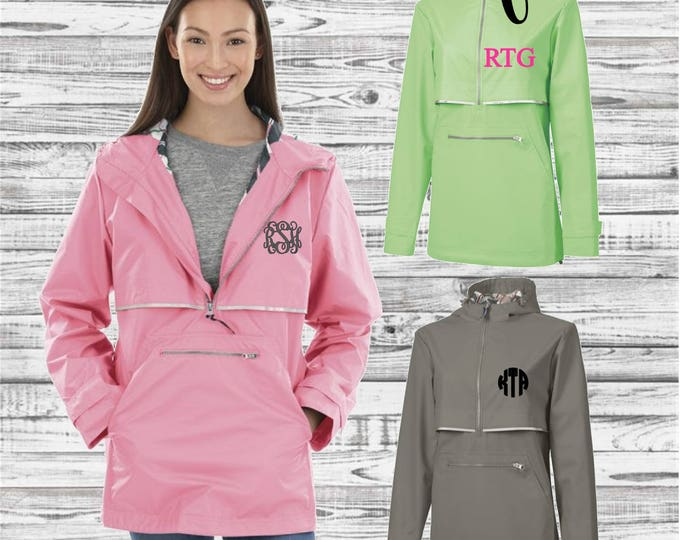 Monogrammed New Englander Pullover Rain Jacket, Charles River Monogram Rain Jacket, Waterproof Rain Jacket, Gifts for Her