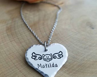 Personalized cat memorial necklace, pet loss necklace, memorial pet necklace, cat angel necklace, cat lover necklace,pet remembrance jewelry