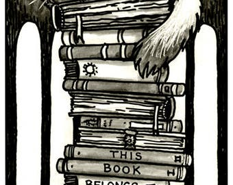 Cat on Books - Pack of 10 Bookplate Stickers - Ex Libris