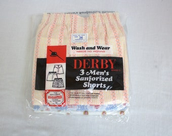 "Late 1950's to 1960's ""Derby"" Men's Boxer Shorts / 3 Pairs / Deadstock / Size: 34"" Waist"