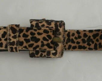 """vtg JOHNNY FARAH Animal print Hair Calf belt S cheetah 1 3/8"""""""