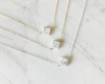 The Sophie Necklace - White Marble Necklace - Marble Jewelry - White Howlite Jewelry - By Kristina&Co on Etsy