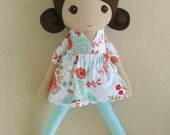 Fabric Doll Rag Doll Brown Haired Girl in Coral. Aqua, and Gold Floral Dress
