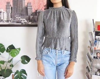 90s blouse - modern avant garde top - silver gray artsy wrinkle textured shirt - peplum blouse - 90s clothing - minimalist clothing