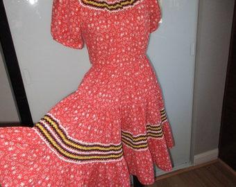 Vintage Patio Square Dance Dress Ricrac Rickrack