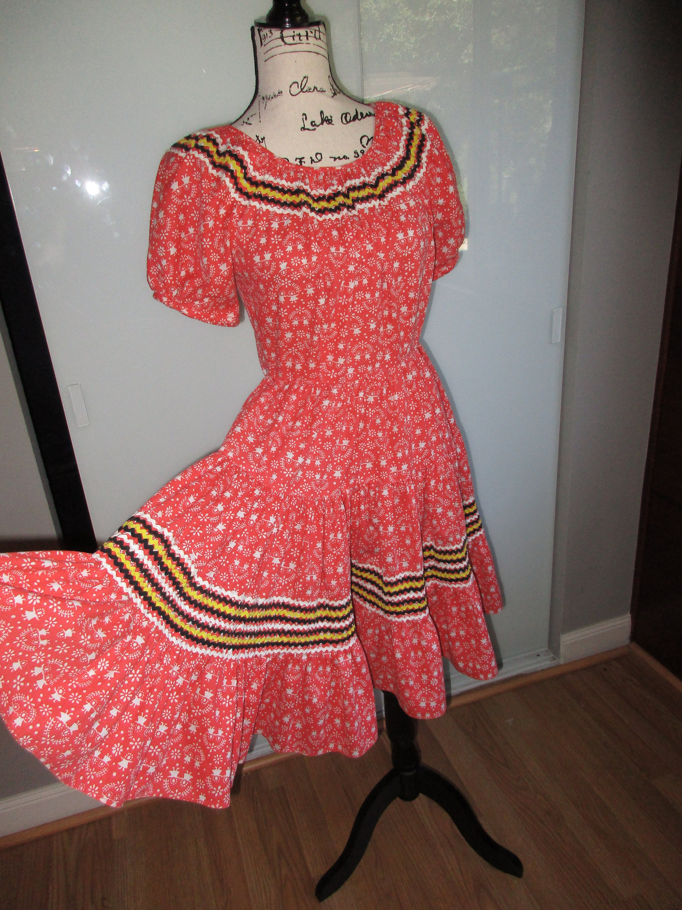 Vintage Patio Square Dance Dress Ricrac Rickrack