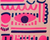 Pink party pattern risograph