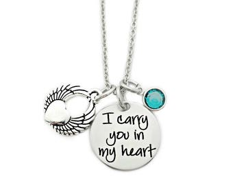 Personalized Memorial Necklace - I Carry You In My Heart Necklace - Miscarriage Remembrance - Miscarriage Necklace - Loss Jewelry - 1132