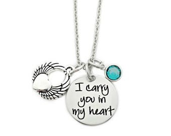 Personalized Memorial Necklace - I Carry You In My Heart Necklace - Miscarriage Remembrance - Miscarriage Necklace - Loss Jewelry - Memorial