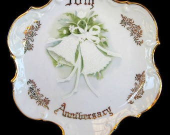 vintage decorative china plate, 50th anniversary plate, Norcrest