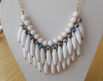 3 Row Bib Necklace with White Bead Dangles and Clear Crystals on a Gold Tone Chain