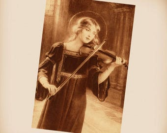 St Cecilia Patroness Of Musicians New 4x6 Vintage Postcard Image Photo Print IL91