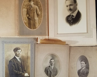 Five Photos of Men Late 1800s Early 1900s