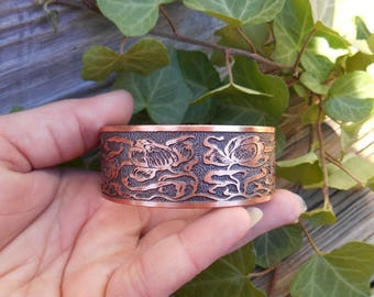 Tulip Flower Cuff, Floral Jewelry, Copper Bracelet, Copper Cuff, Etched Copper, Jewelry Gift, Gift for Her, Garden Jewelry, Ready to Ship