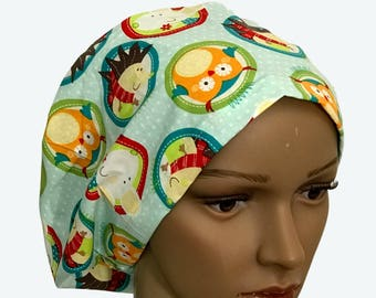Euro Scrub Hat - Kids Colorful Owls on Polka Dots Light Blue Scrub Hat for women - Slouchy hat with Cute Owls and Wild Life
