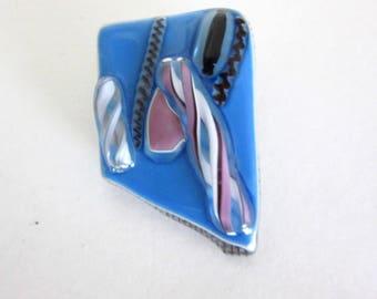 Hand Blown Blue Glass Brooch - Hand Made - Abstract Design - Pink - Black Glass