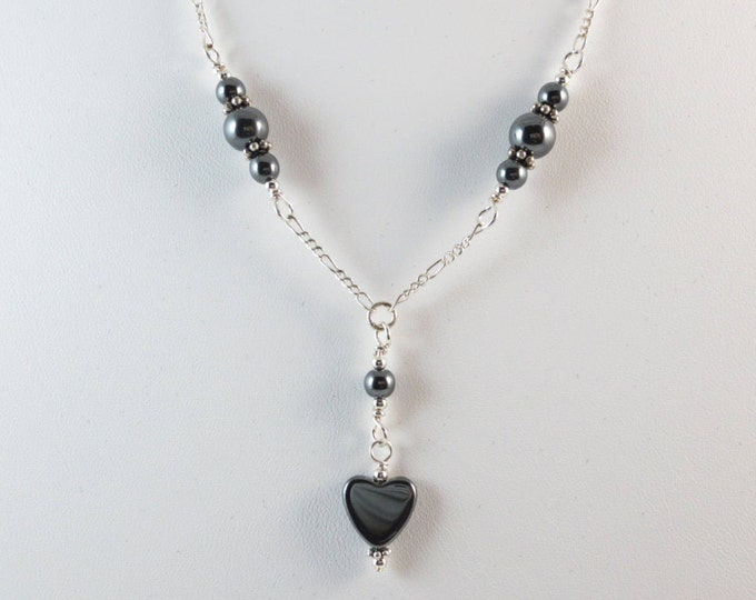 Hematite Heart Necklace on Sterling Silver or 14k Gold Fill