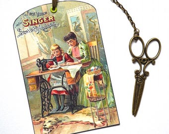 Bookmark with Bronze Pendant - Vintage Poster - Sewing Machine - Handmade