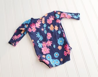Summer Blooms - newborn long sleeve floral knit romper in floral navy blue, hot pink, fuchsia, royal blue, yellow, orange and peach  (RTS)