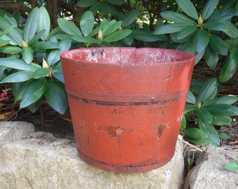 Antique Bucket Keeler Wooden Sap Bucket with Old Red Paint Metal Bands Chippy Rustic Newborn Photography Photo Prop Country Waste Basket