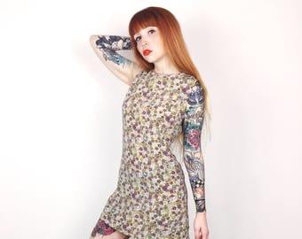 Perfect Little 90's Grunge Floral Print Sleeveless Daisy Mini Summer Dress // Women's size XS Small S