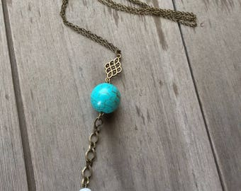 Turquoise Bead Necklace/Long Necklace/Boho/Southwestern