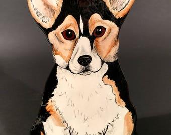 Corgi Puppy Vase Original by Nina Lyman of Dogs by Nina
