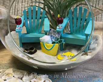 BEACH TERRARIUM Kit - TWO Beach Chairs, 2 Miniature Drinks, Flip Flops, Miniature Beach Tote w/Magazine  - by Landscapes In Miniature