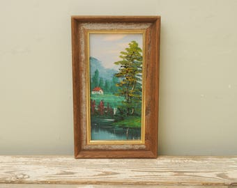 Mountain Landscape Painting Cabin in Woods