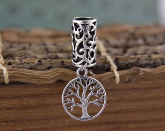 Tree of Life Tibetan Silver Dangle Dreadlock Bead 8mm Hole (5/16 Inch)