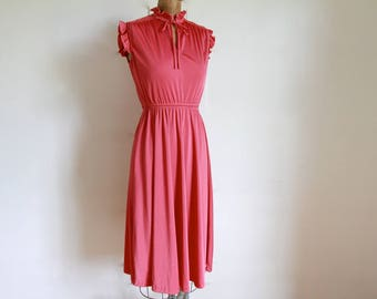 1970s Dusted Rose Pink Smocked Dress / Vintage 70s Necktie Dress / Small