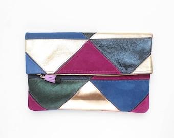 Large leather bag. Fold over clutch. Geometric purse. Statement bag.Metallic natural leather. Black metallic blue gold handbag. /PRISM 34