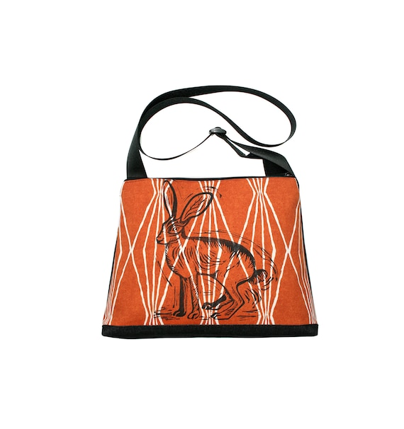 Jackrabbit, block print, burnt orange pattern, vegan, vegan leather, large, cross body bag