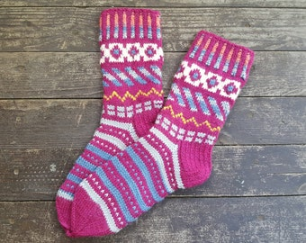 Hand Knitted Wool Socks -Colorful Socks for Women -Wool Socks- Size Medium,Large-US W8 /EU 39