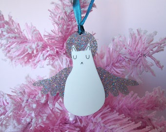 Silver Angel Cat Christmas Tree Decoration - Christmas Decoration - Angel cat - I like cats - Tree ornament - Christmas ornament - Angel