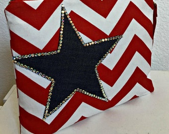 SALE Clutch Bag, Americana Wristlet Stars and Stripes Clutch, Music Festival Clutch, , Denim Clutch with Rhinestones Star, Make Up Bag