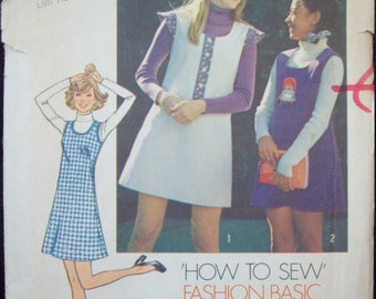 How to Sew Basic Jumper Pattern Vintage Simplicity Pattern 6566 Young Jr./Teen Size 5/6 Uncut Pattern