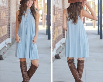 Sky Blue Boho Chic Dress | Perfect for Easter, Spring and Summer Weddings!