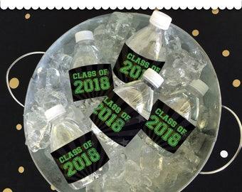 Graduation Bottle Wrappers GREEN/ BLACK Instant Download printable PDF