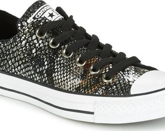 Leather Converse Low Top Snake reptile Black Silver Metallic w/ Swarovski Crystal Rhinestone  Chuck Taylor All Star Sneaker Trainer Shoe