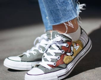 Converse Classic Retro Cartoon Looney Tune Taz Devil Olive Gray Custom Low Top  w/ Swarovski Crystal Chuck Taylor Kick All Star Sneaker Shoe