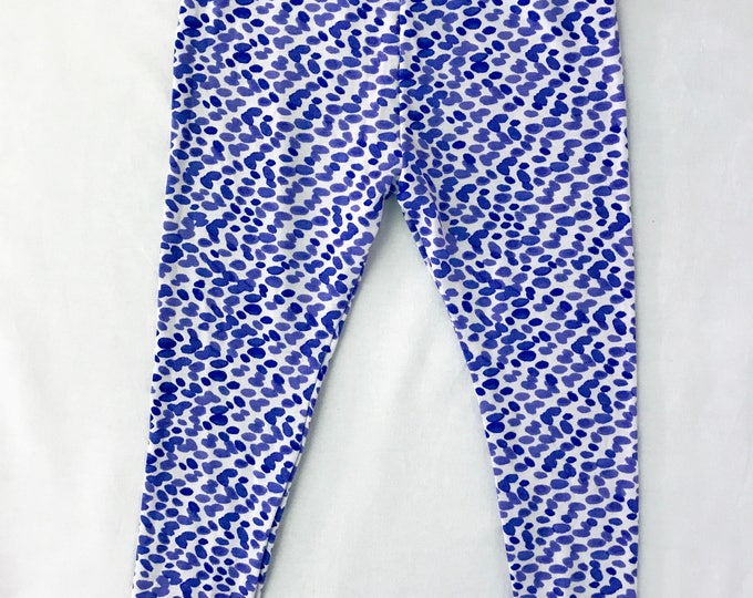 Baby Pants - Girls Leggings - Toddler Pants - Baby Leggings - Baby Girl Clothes - Cute Pants for Baby - Kids Blue Pants - Raindrop Motif