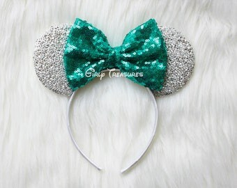 TEAL Mouse Ears Headband. Princess Mouse Ears Headband. Girl Mouse Ears Headband. Women Disney Headband. One Size Fits Most.
