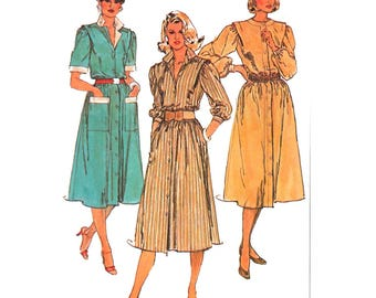 "Simplicity 6940 Woman Shirt-Waist Dress Button-Front Dress Vintage Sewing Pattern Size 6-8 Bust 30.5-31.5"" 1980s Vintage Pattern UNCUT"