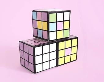 Rubik's Cube Favors, Rubiks Cube Party Favors, Printable Rubik's Cubes, Pastel Rubik's Cube Template, Games Party Favors, 80's Theme Props
