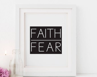Faith Over Fear Modern scripture art, Boy Nursery Bible Verse bible Journaling gift, journal art, quote print, Digital Download, printable