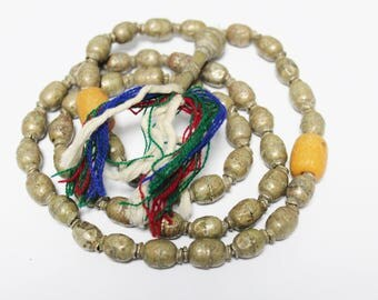 Rustic Silver Ethiopian Prayer Beads, Ethnic Jewelry Supplies, African Beads, Musbaha Beads (AP110)