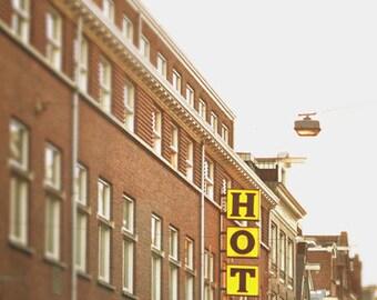 Retro Wall Art, Retro Print, Architecture Art, Street Photography, Urban Art Print, Amsterdam, Travel Print, Hotel Sign Print, Americana Art
