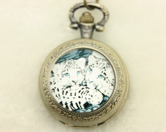 V1 Necklace Pocket watch two leopards 2525M